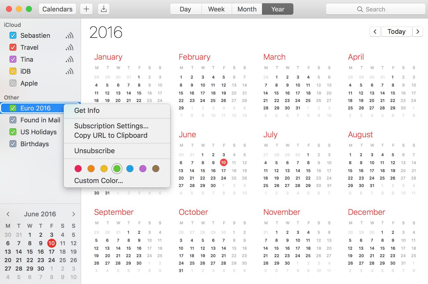 Subscribed calendar info