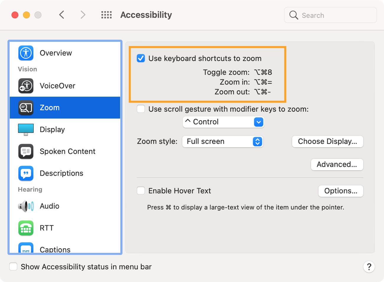 System Preferences Accessibility Zoom Options on Mac