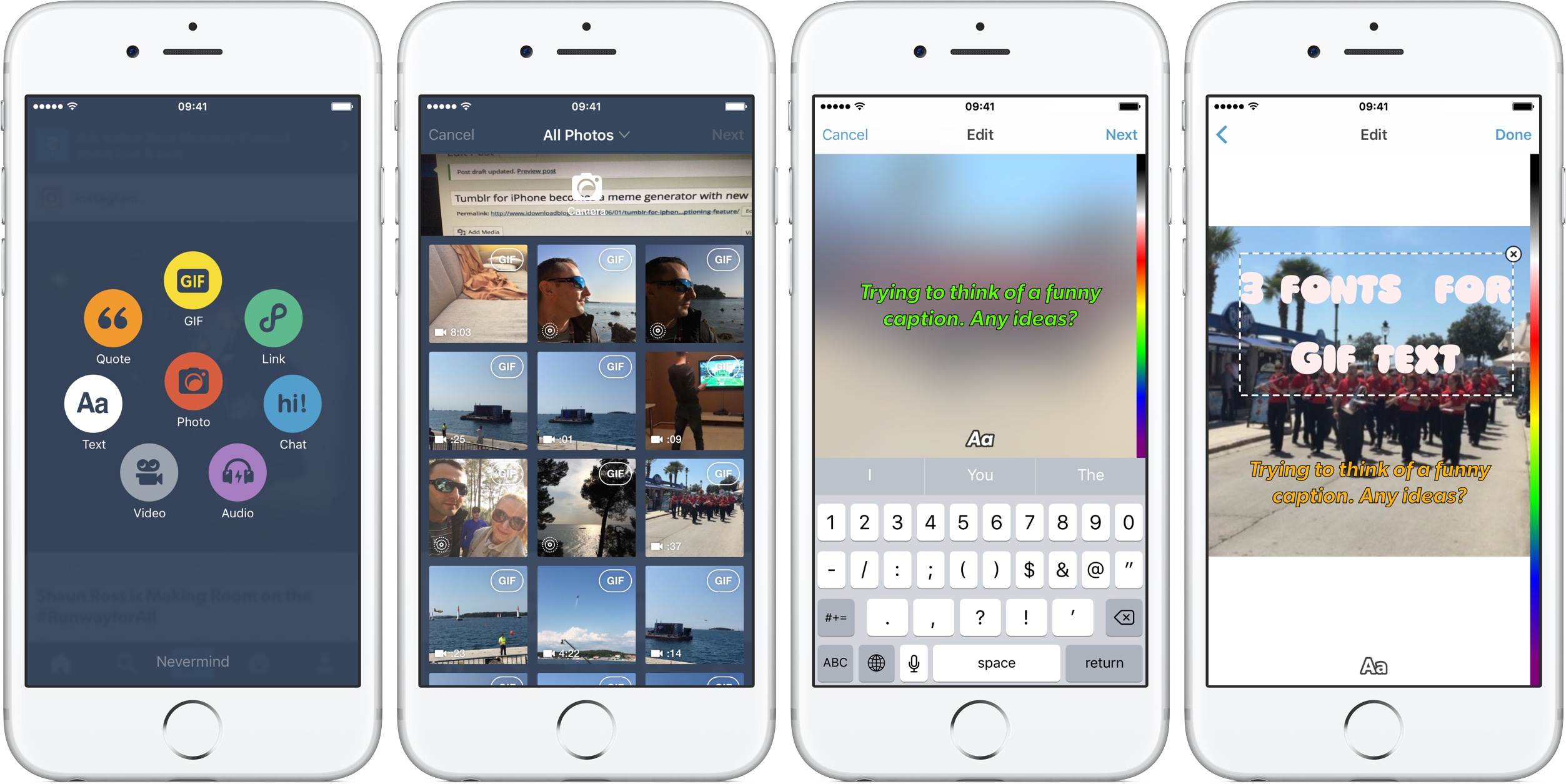 Tumblr 6.1.1. for iOS GIF captions iPhone screenshot 001