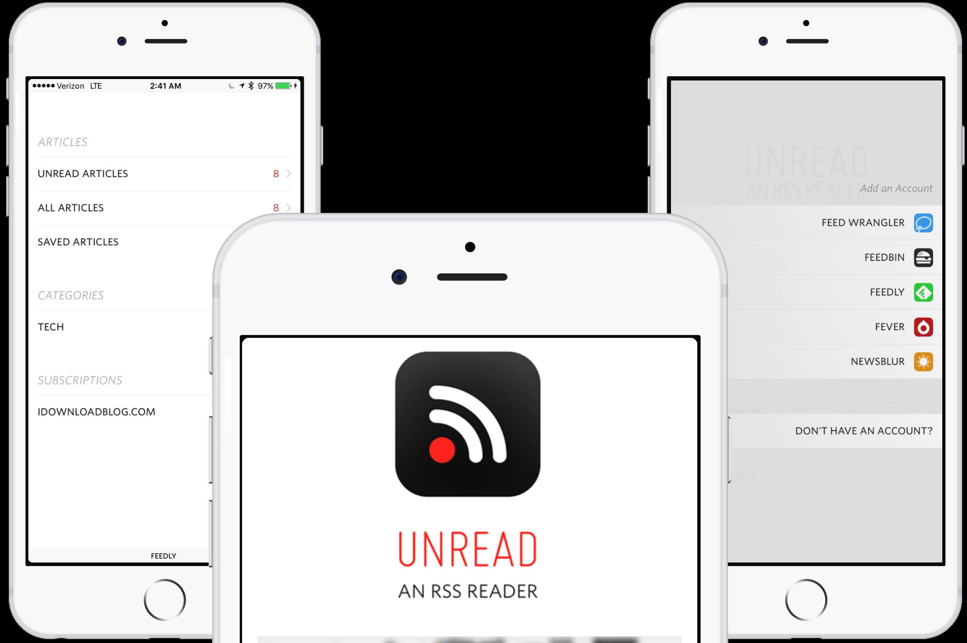 Capturas de pantalla de la aplicación RSS no leídas