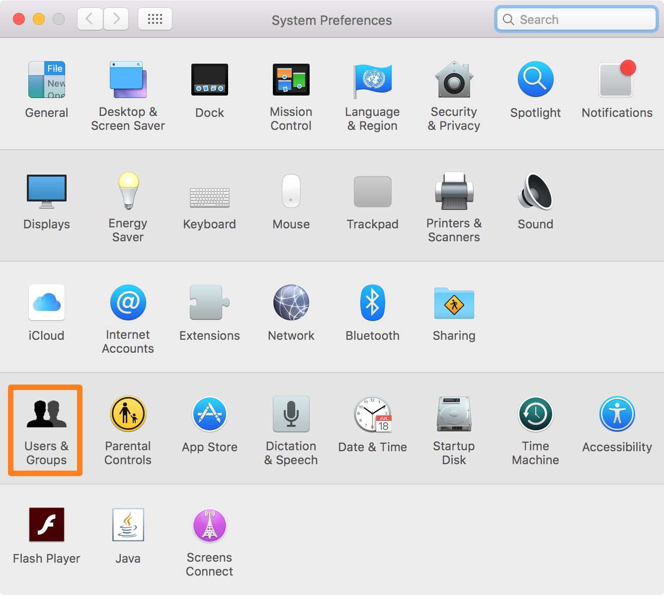 enable parental controls on Mac - Users and Groups Mac System Preferences