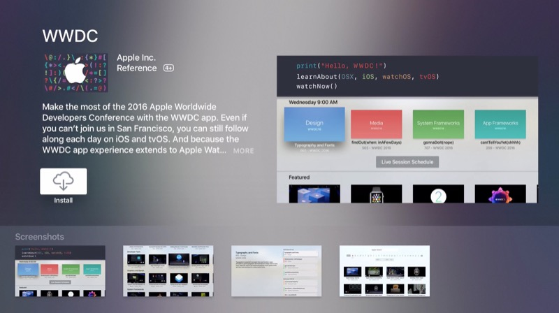 WWDC for tvOS Apple TV screenshot 002