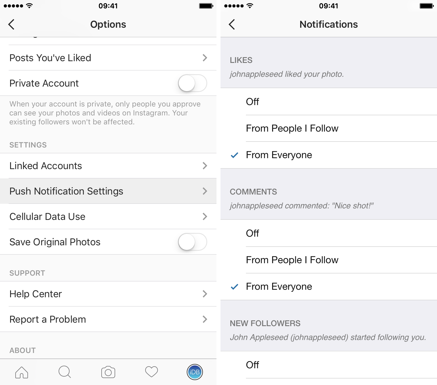 adjust instagram notifications