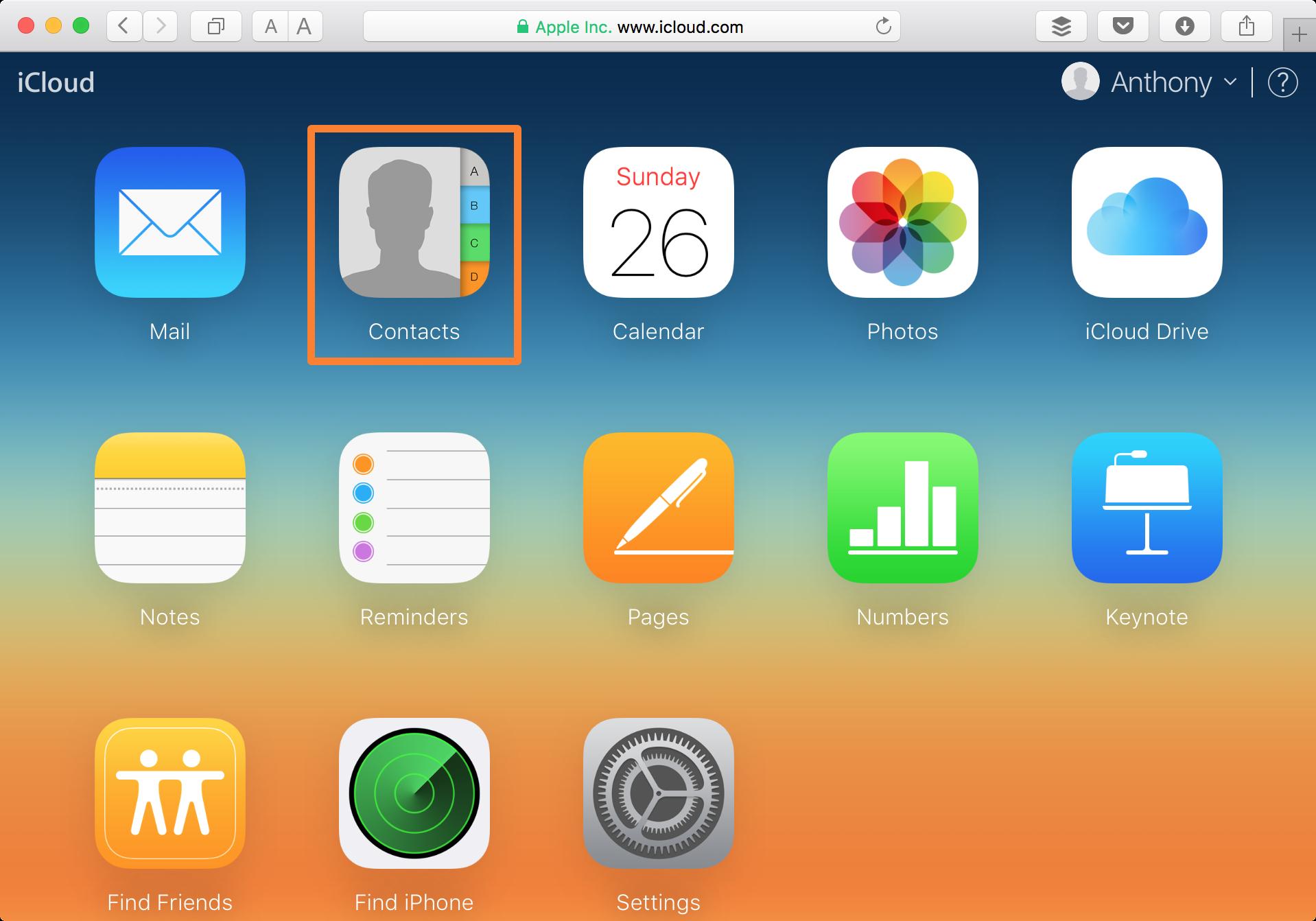 Aplicación de contactos del sitio web de iCloud