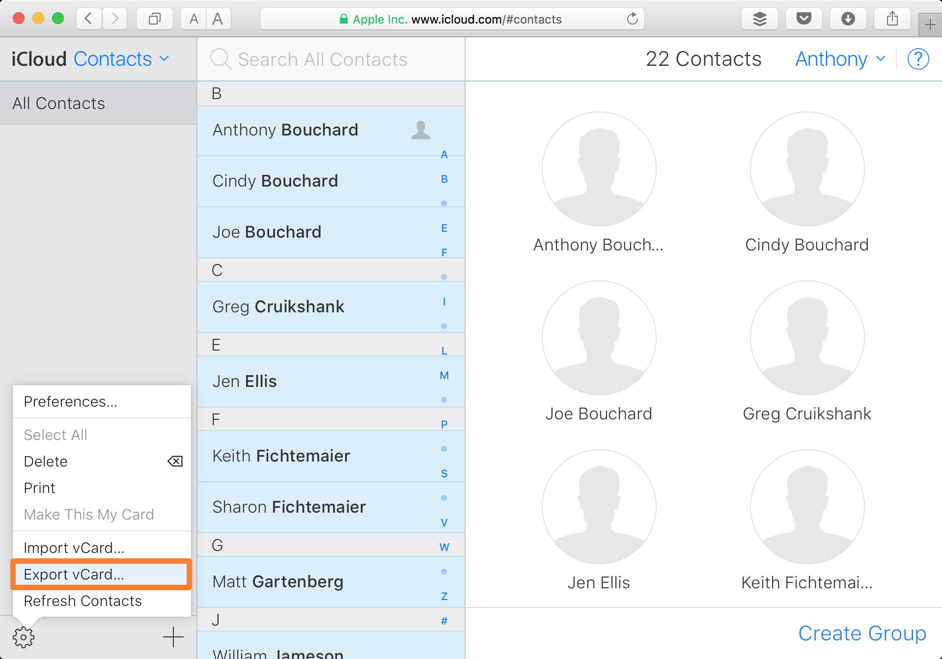 iCloud Website Contacts Export vCard