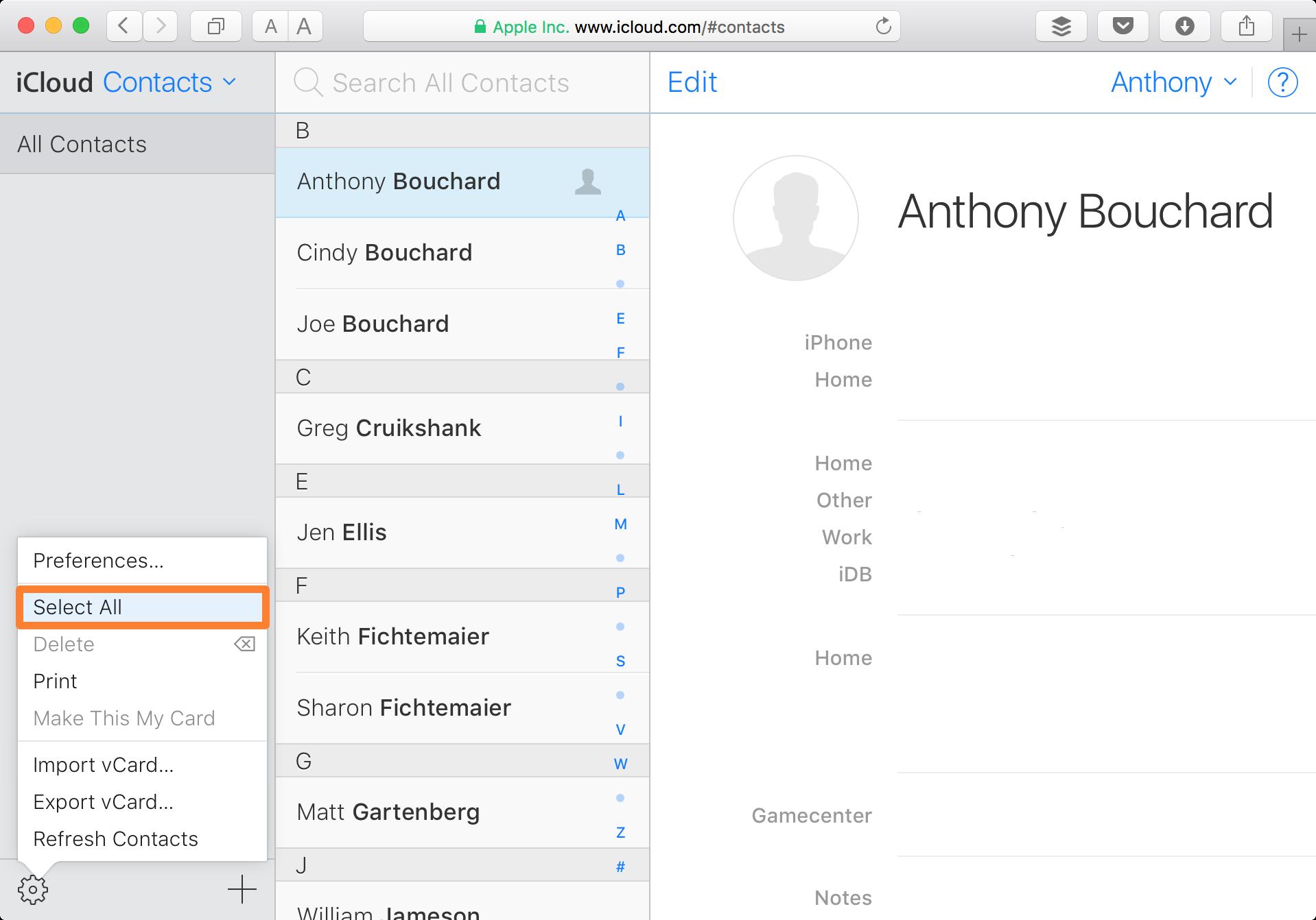 Contactos del sitio web de iCloud Seleccionar todo