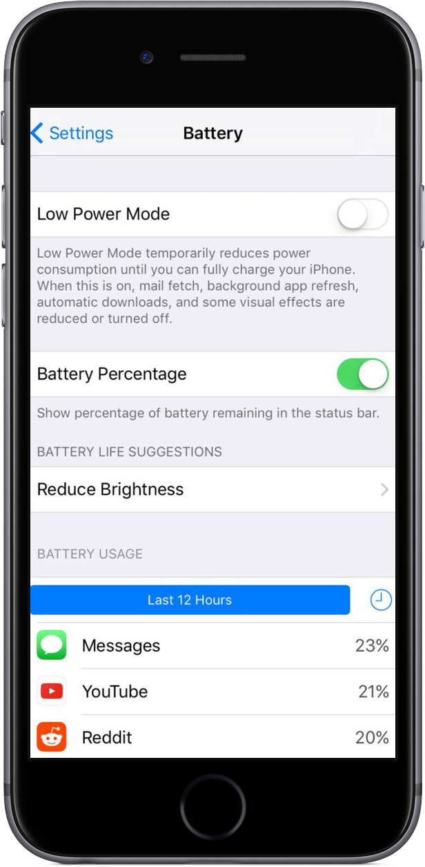 iOS 10 Battery Life Suggestions iPhone screenshot 001