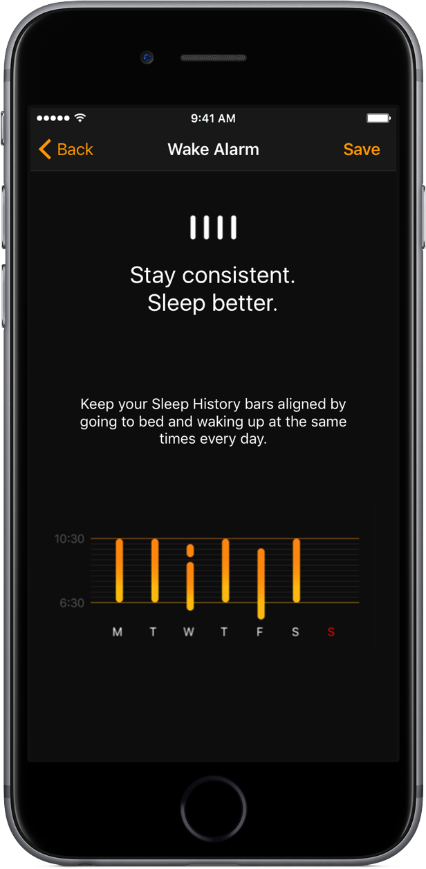 iOS 10 Clock Bedtime Alarm Sleep History bars space gray iPhone screenshot 001