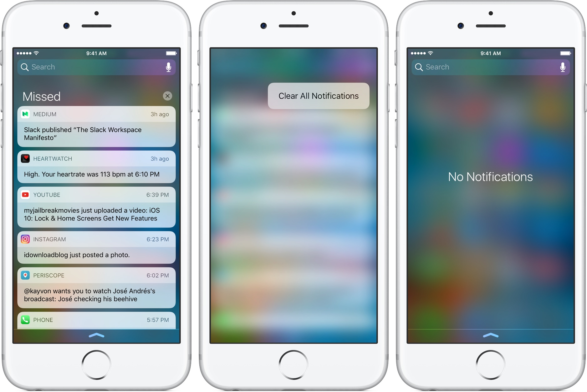 iOS 10 Bloqueo de pantalla Centro de notificaciones borrar todo 3D Touch iPhone captura de pantalla 001