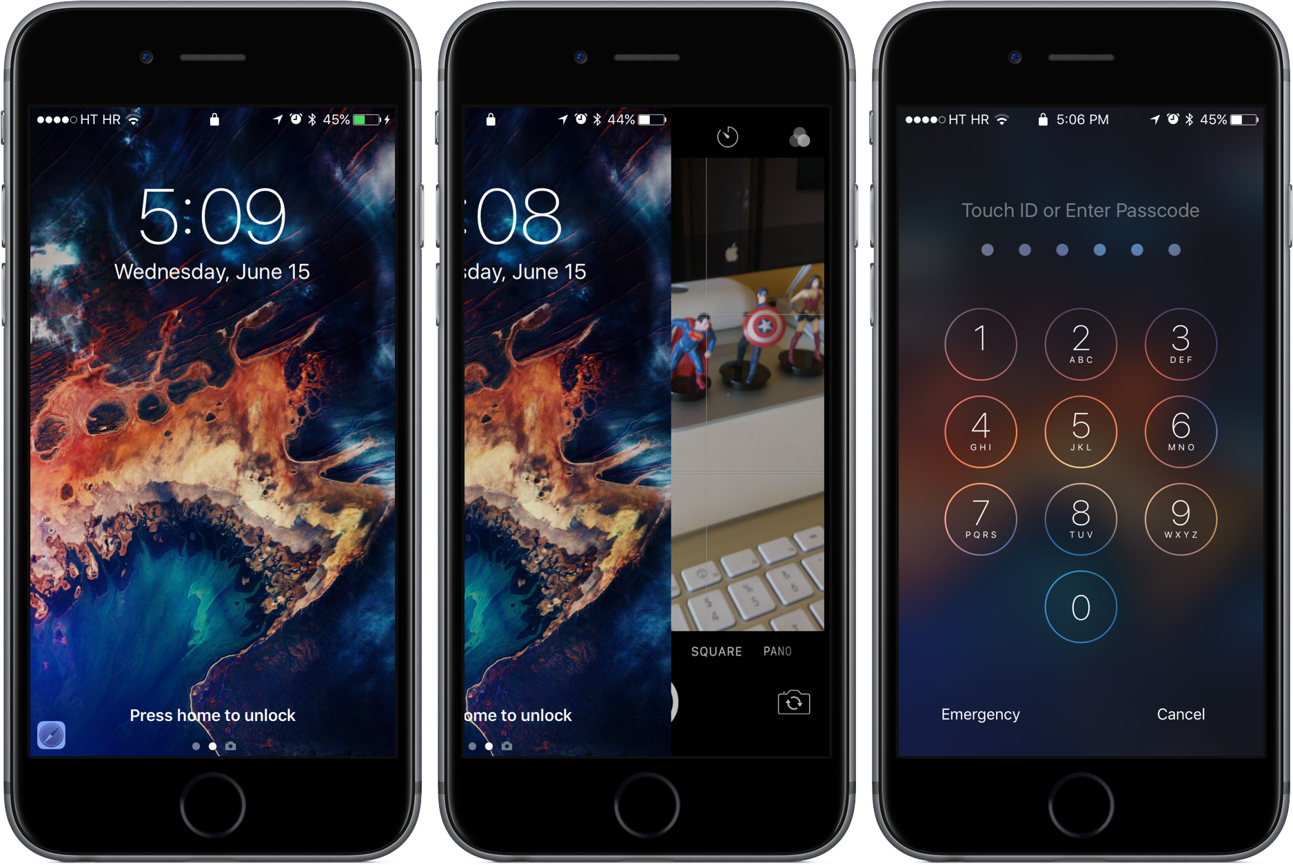 iOS 10 Lock screen Press home to unlock image 002