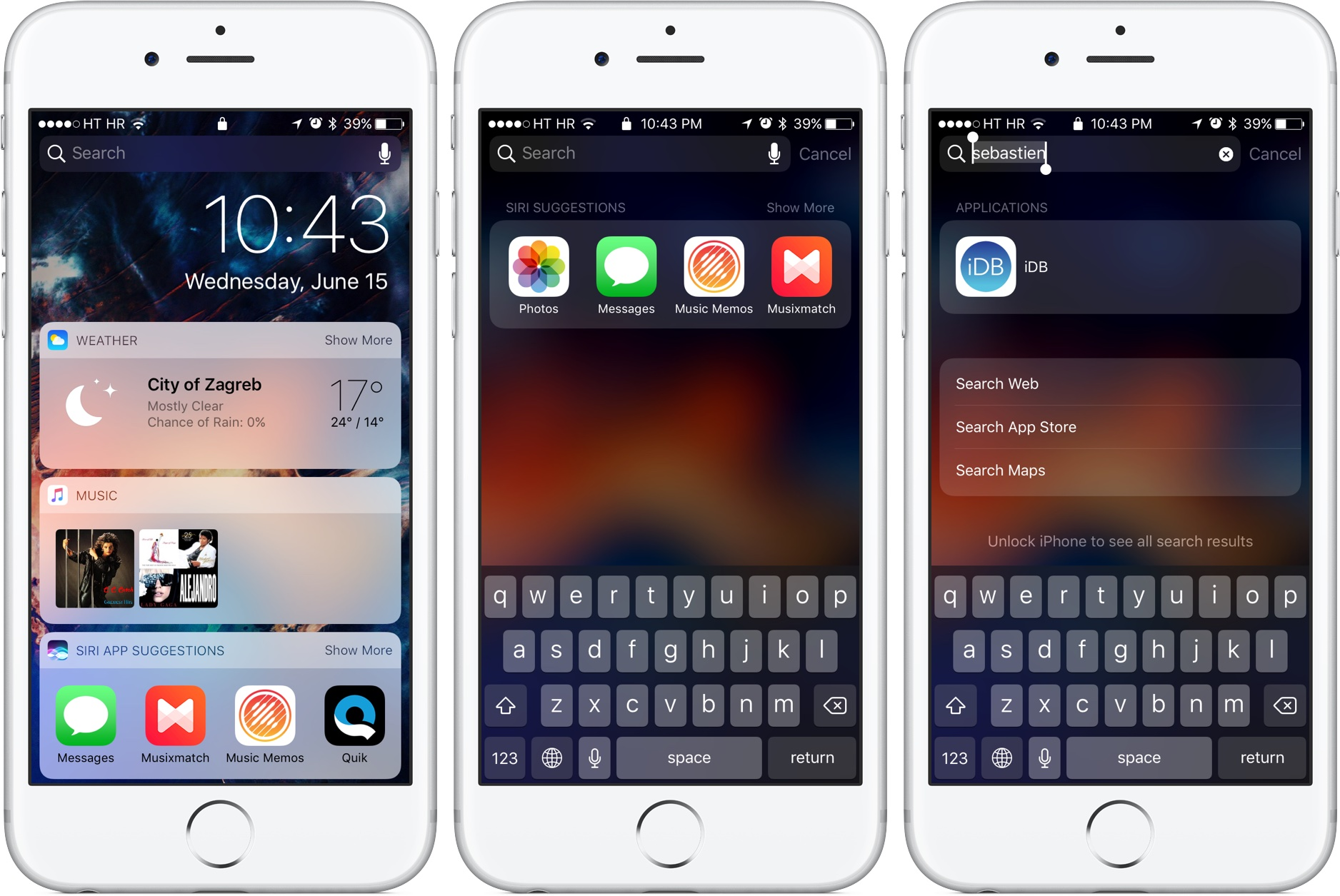 iOS 10 Lock screen Spotlight Search iPhone screenshot 001