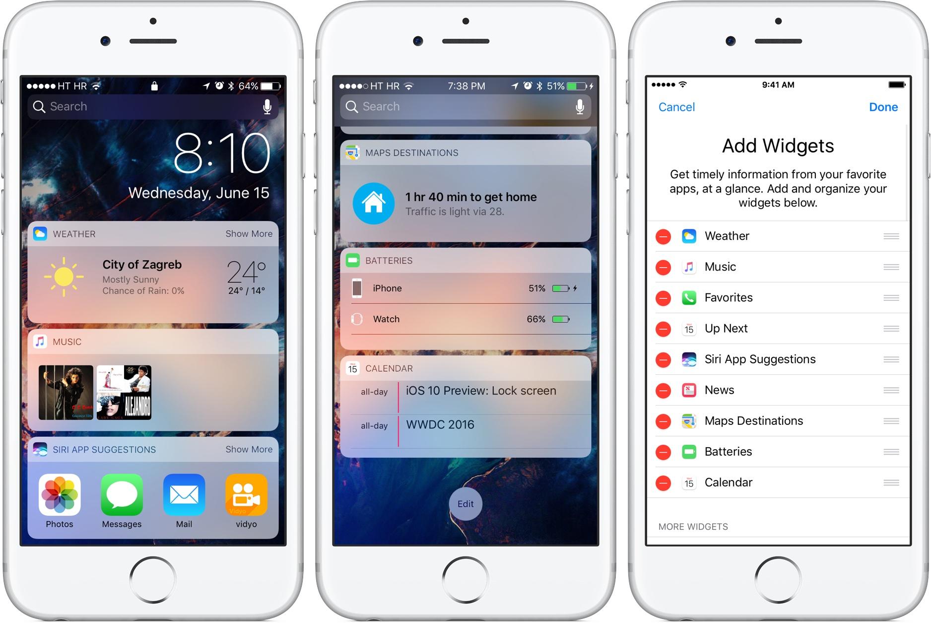 iOS 10 Bloqueo de pantalla de gestión de widgets iPhone captura de pantalla 001