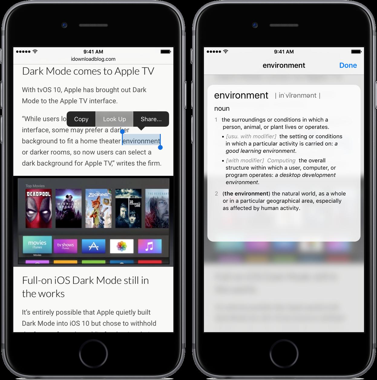 iOS 10 Look Up iPhone screenshot 001