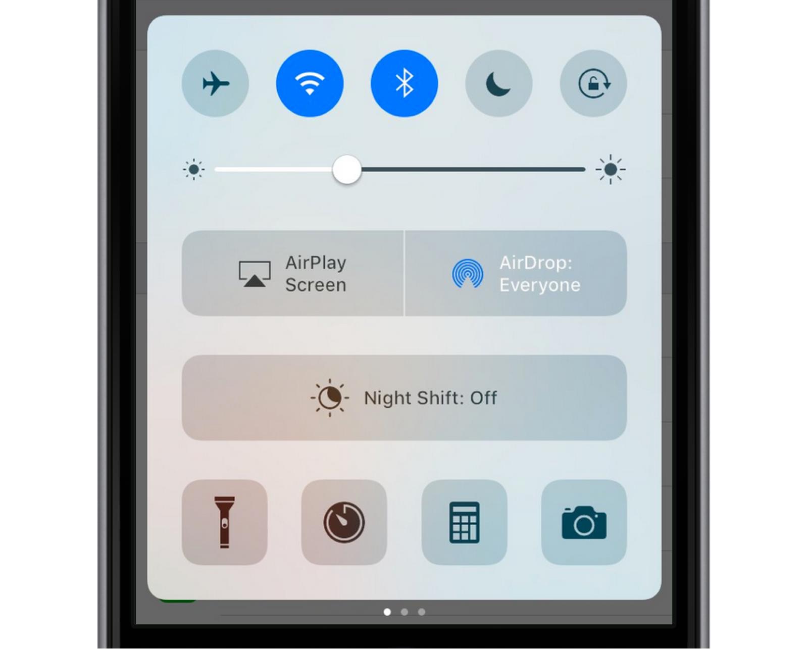 iOS 10 Modular Control Center