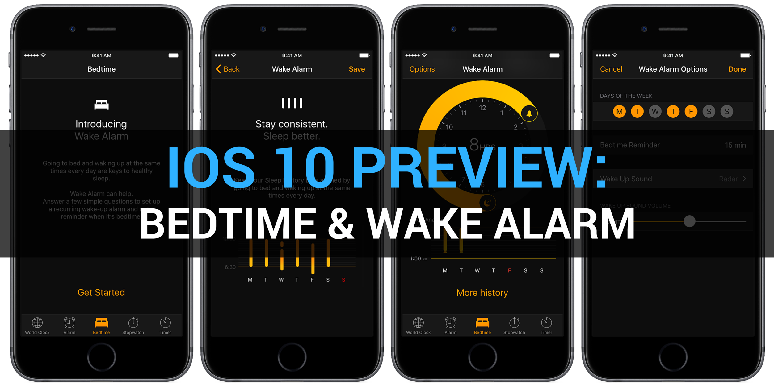 iOS 10 Preview Clock app Bedtime Wake alarm teaser 001