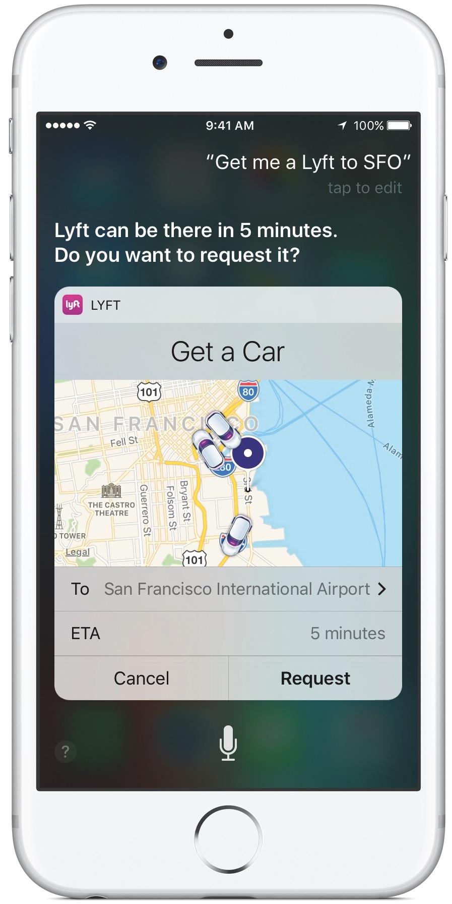 iOS 10 Siri Lyft Lock screen iPhone screenshot 001