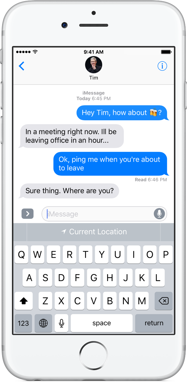 iOS 10 Siri QuickType location suggestions silver iPhone screenshot 001