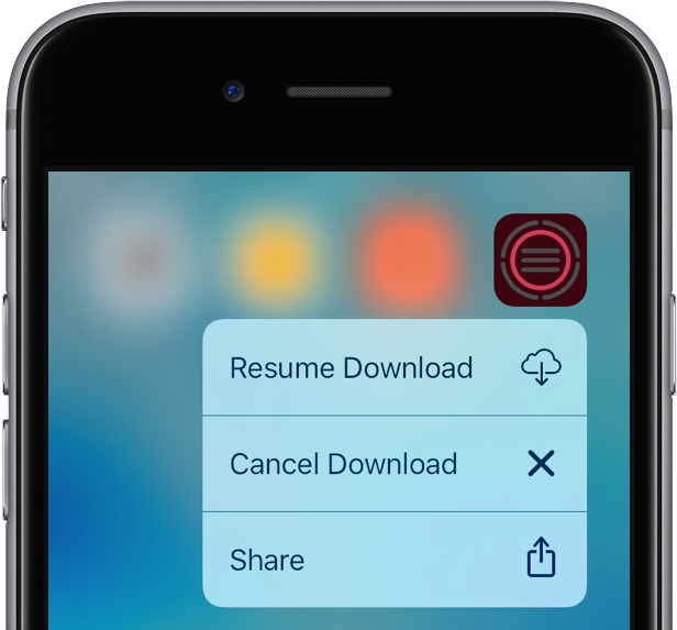 iOS 10 cancel resume app downloads 3D Touch iPhone 6s screenshot 003