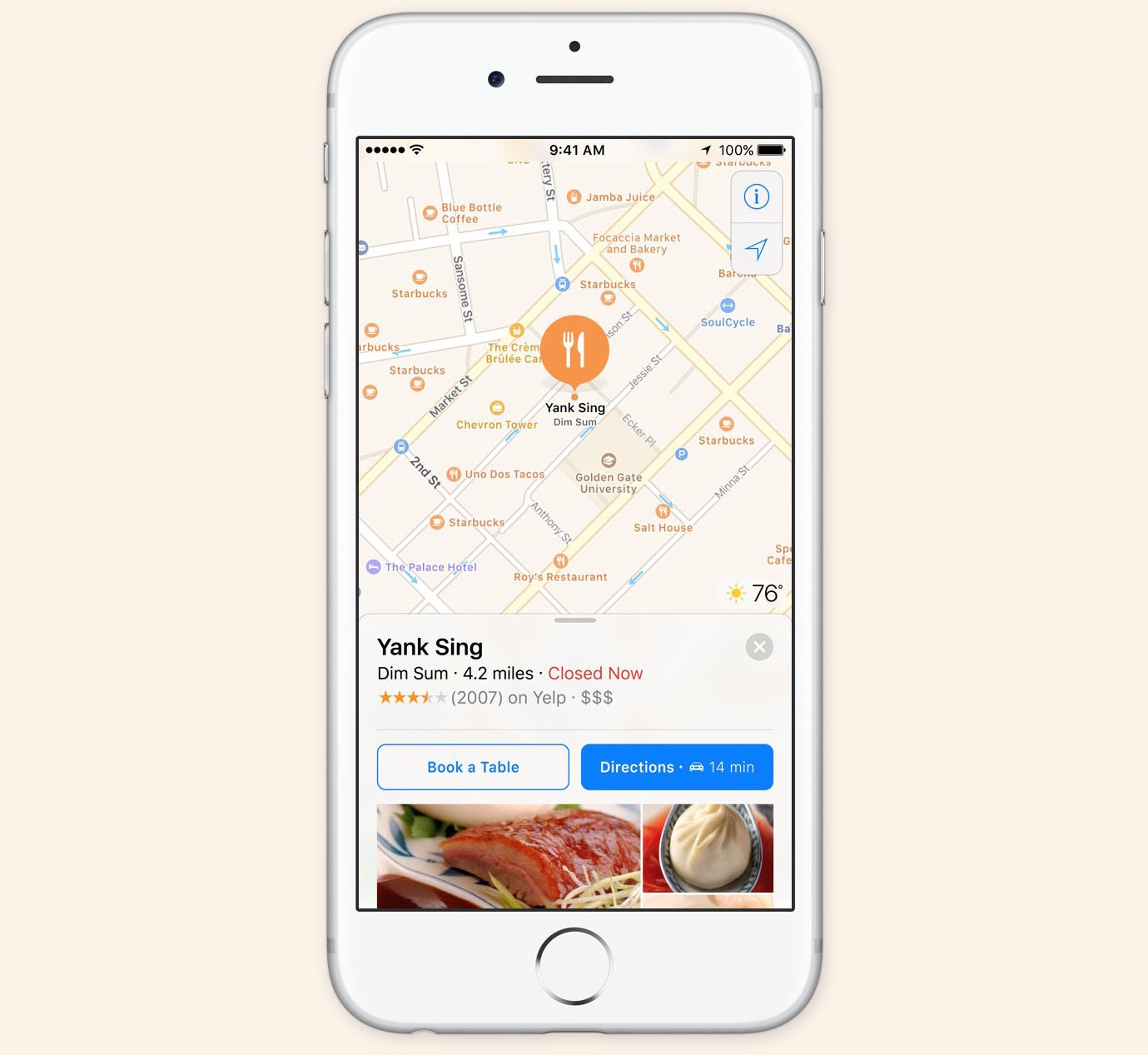 ios 10 Maps reservations