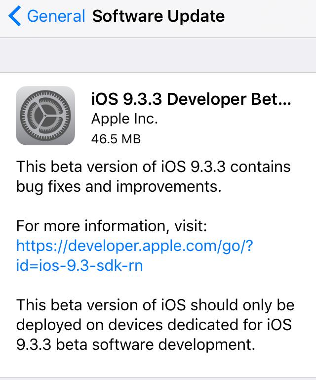ios 9.3.3 beta 2