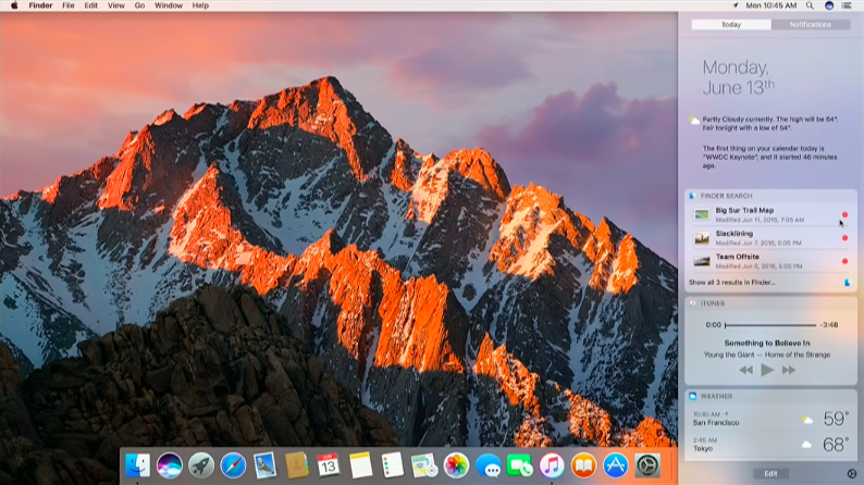 macOS Sierra Siri in Notification Center image 001