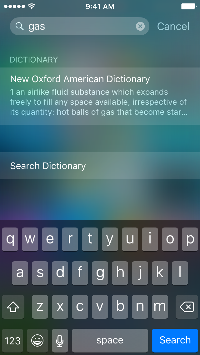 searchdefine lets you define words with the iOS dictionary in spotlight
