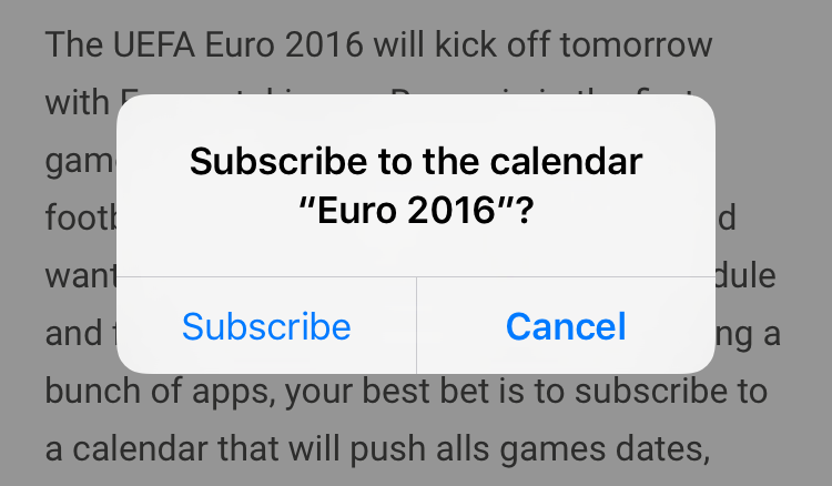 subscribe to euro 2016 calendar