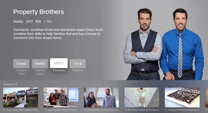 tvOS universal search HGTV proprety brothers Apple TV screenshot 001