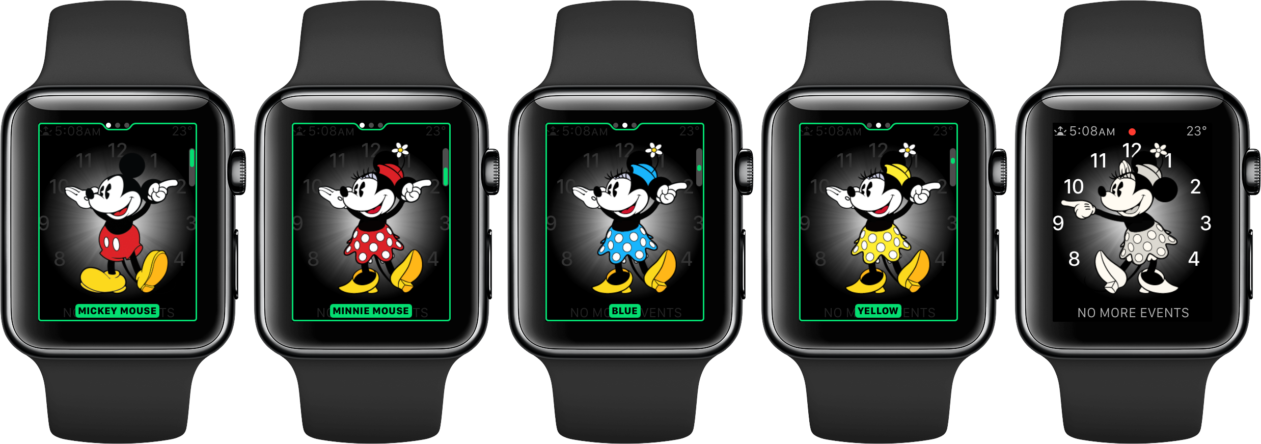 watchOS 3 faces Minnie Mouse space gray Apple Watch screenshot 001