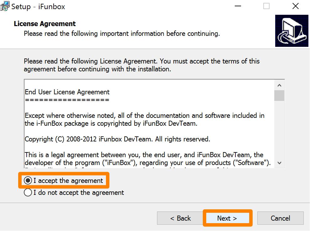 Accept Agreement iFunbox Next