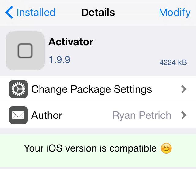 Activator iOS 9.3.3 compatible Pangu