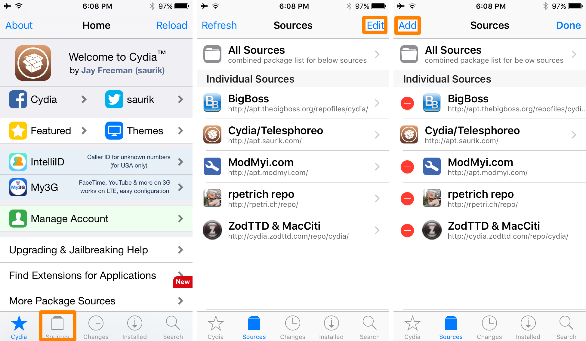 Add Source to Cydia