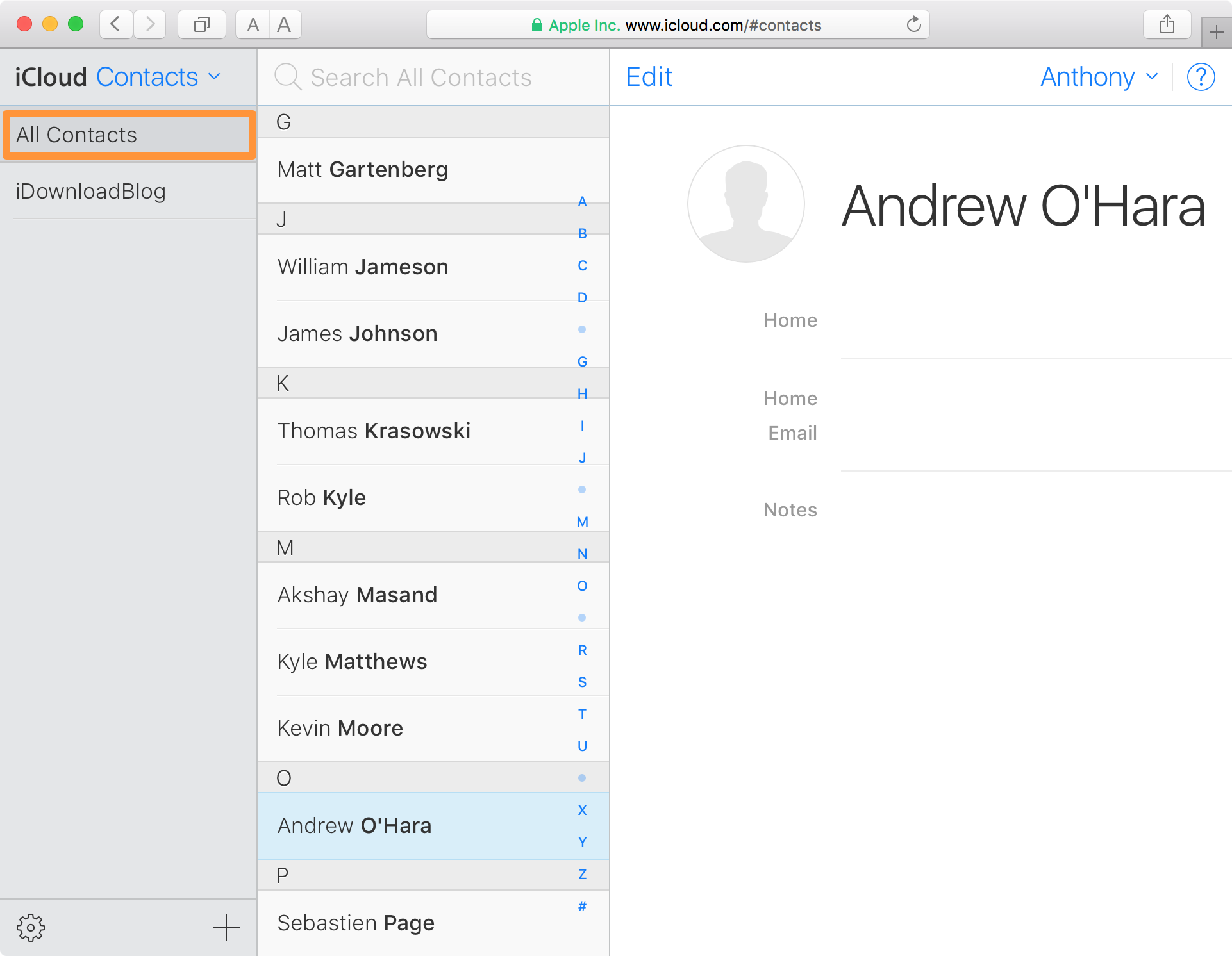 All Contacts Sidebar iCloud.com