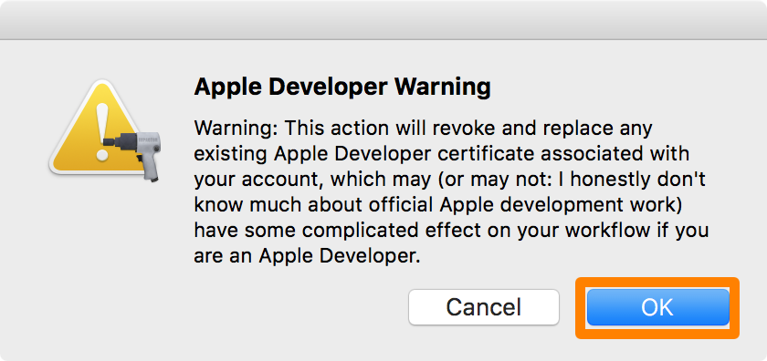 Apple Developer Warning Pangu OK