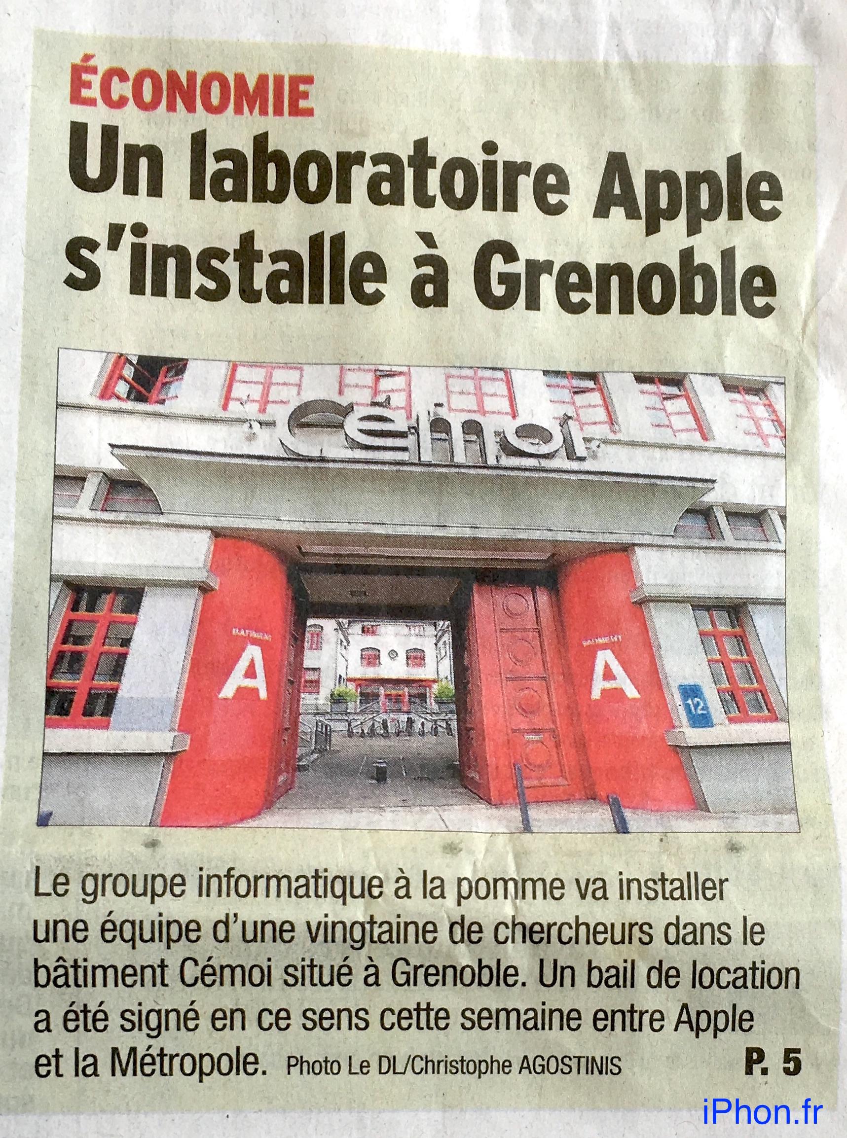 Apple imaging lab France Grenlobe newspaper report 001