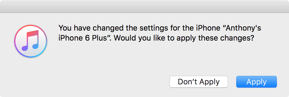 Apply Changes in iTunes