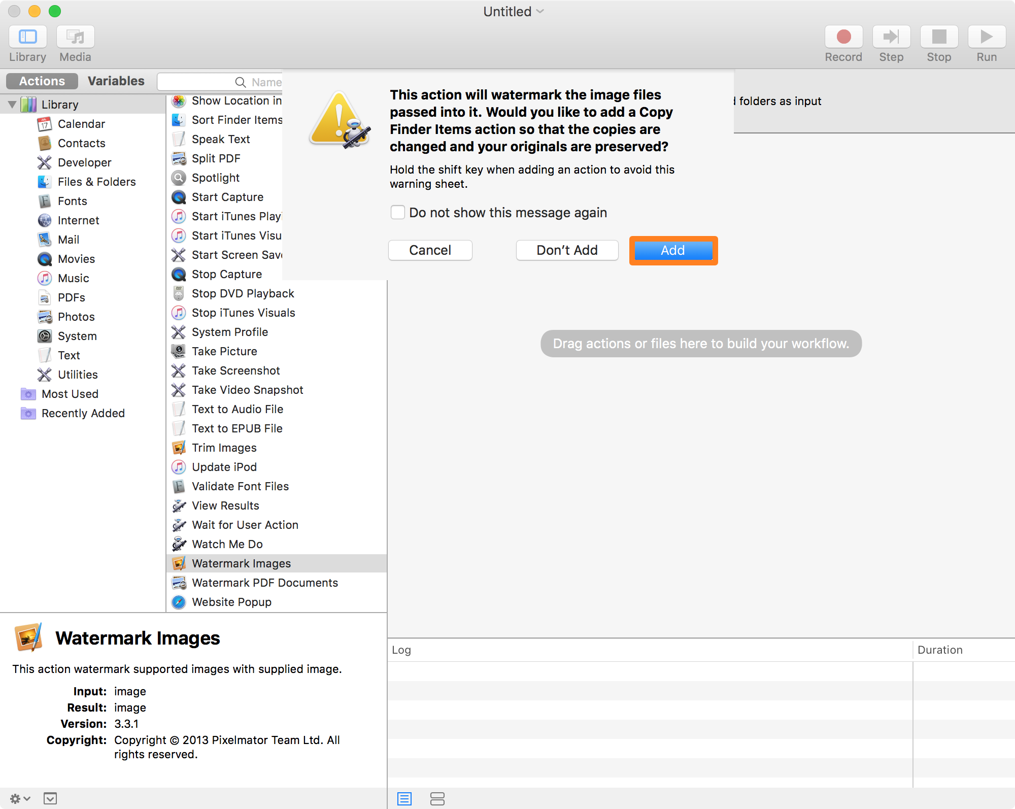 Automator watermarking guide add a new action original and modified