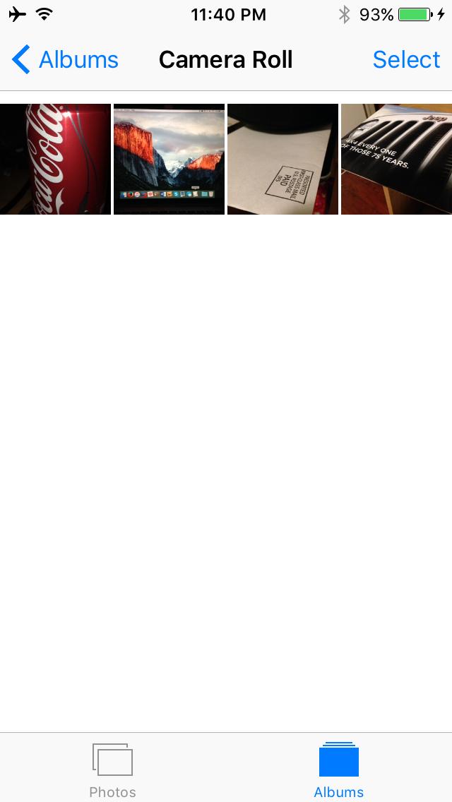 Rollo de cámara en iPhone después de la eliminación de captura de imagen