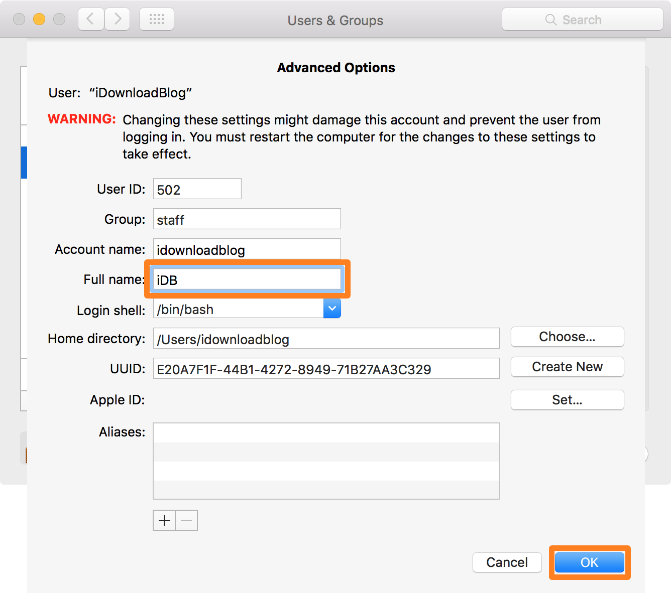 Change Account Name in OS X