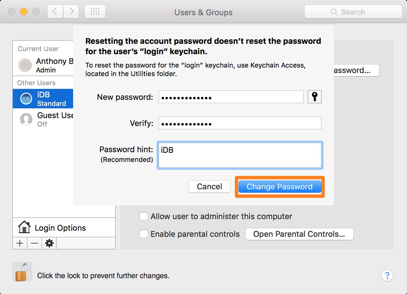 Change user password Mac