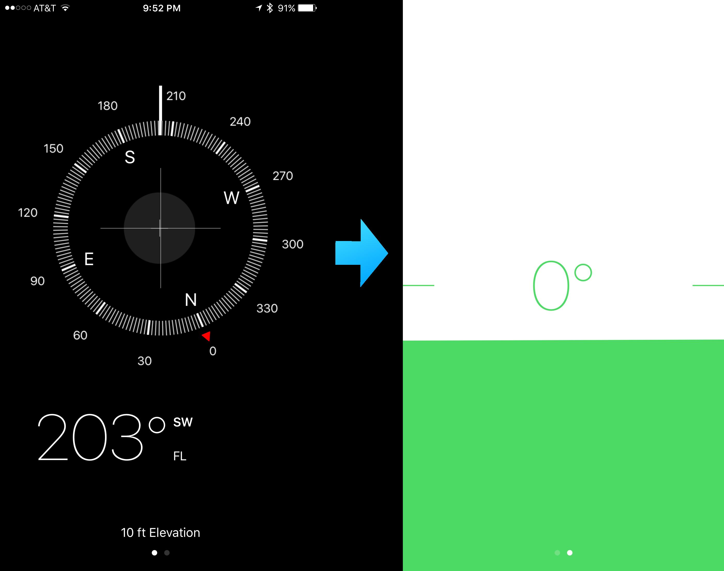 Compass app hidden level