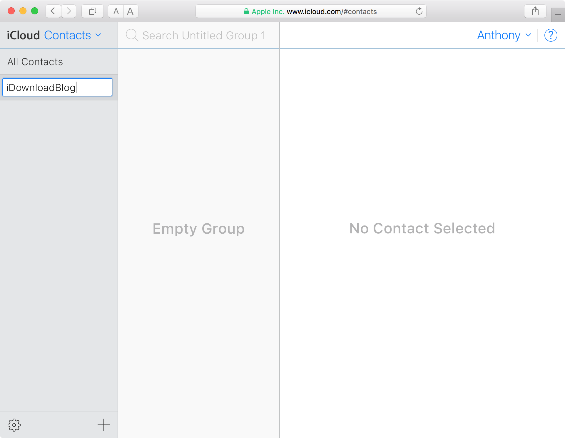 Create new Contacts Group Rename it