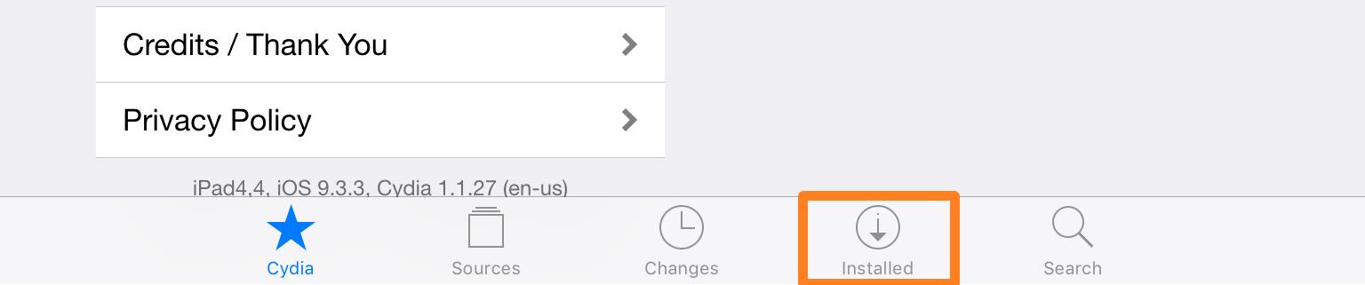 Cydia Installed Tweaks