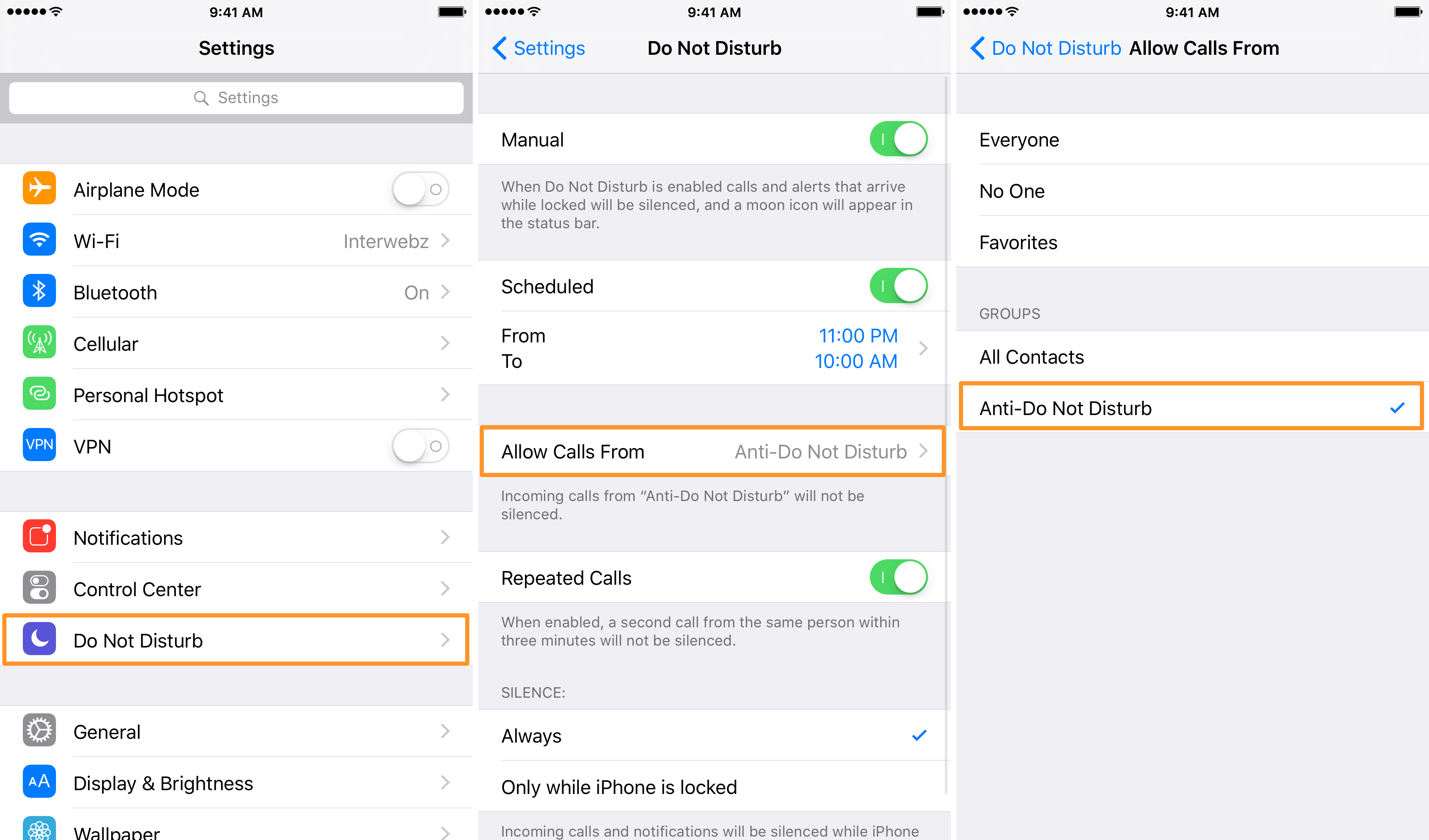 Do Not Disturb iOS allow calls from