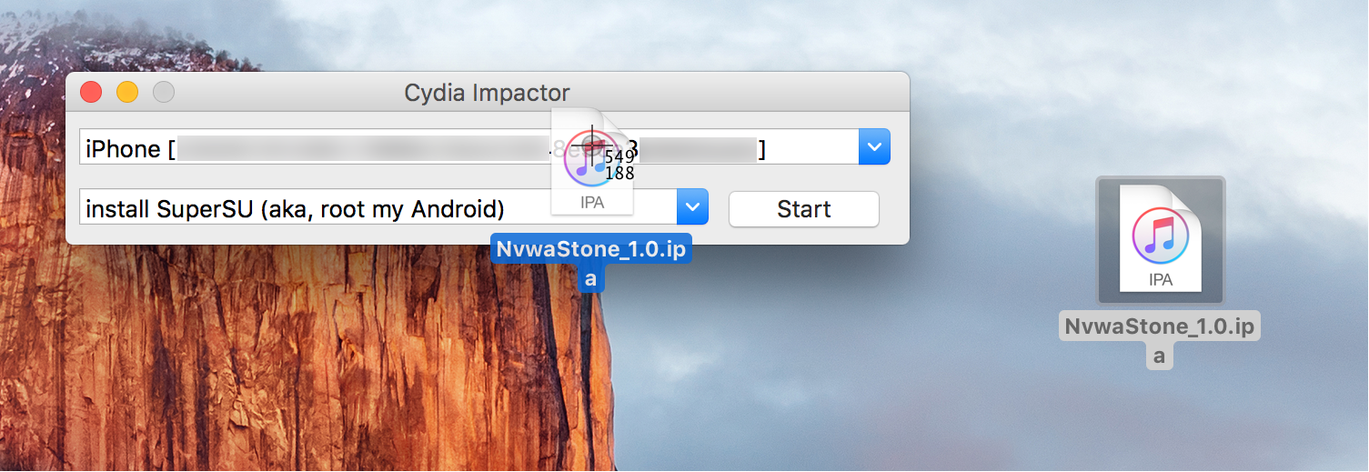 Drag IPA file over Cydia Impactor Jailbreak iOS 9.3.3