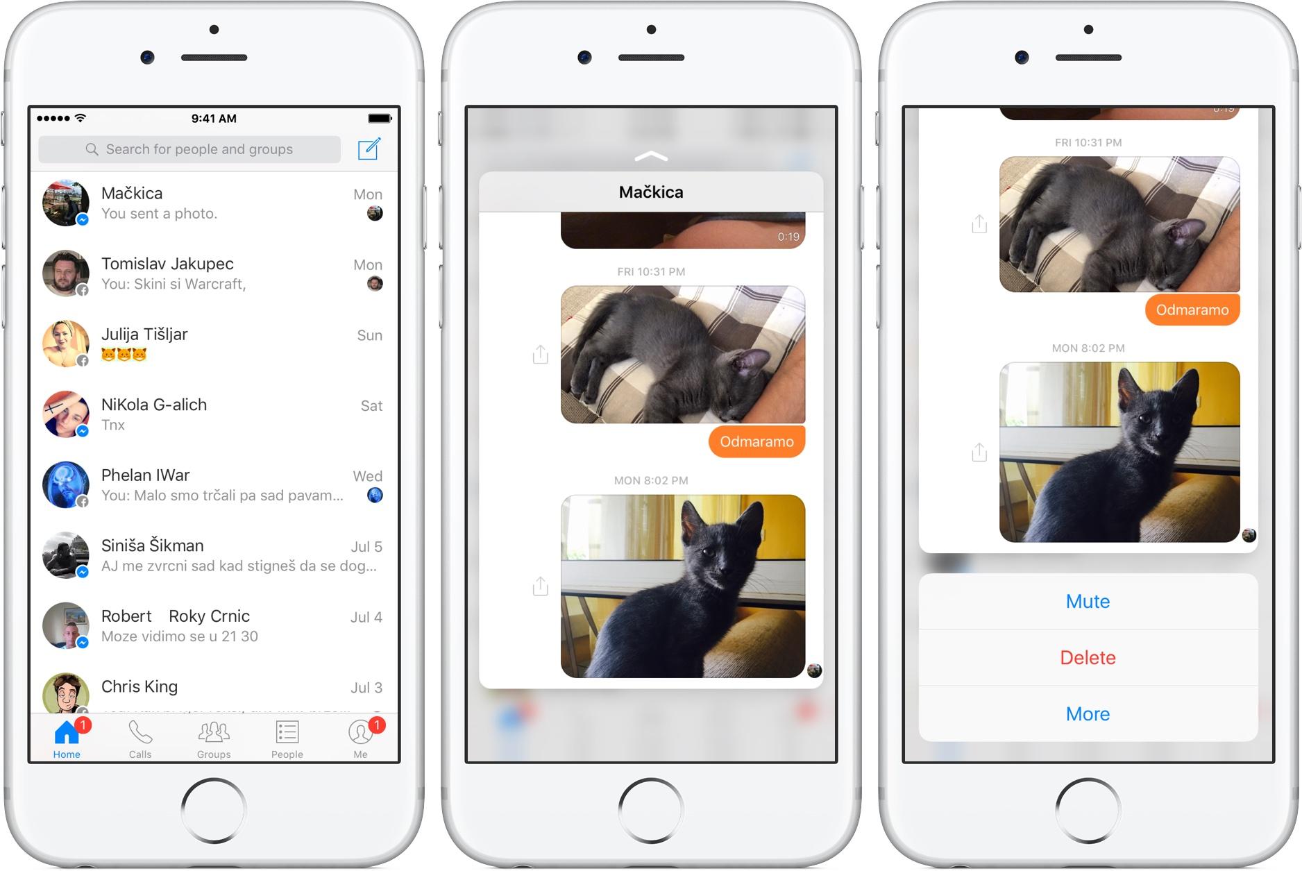Captura de pantalla 002 del iPhone FAcebook Messenger 3D Touch silver