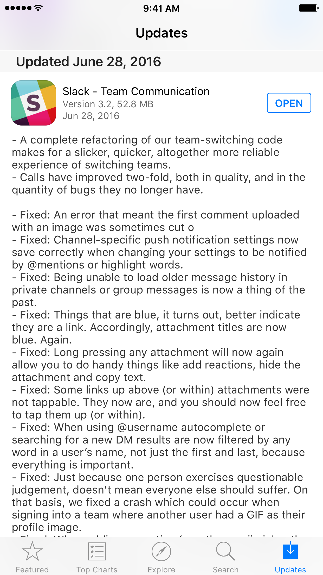 Good App Store app change log