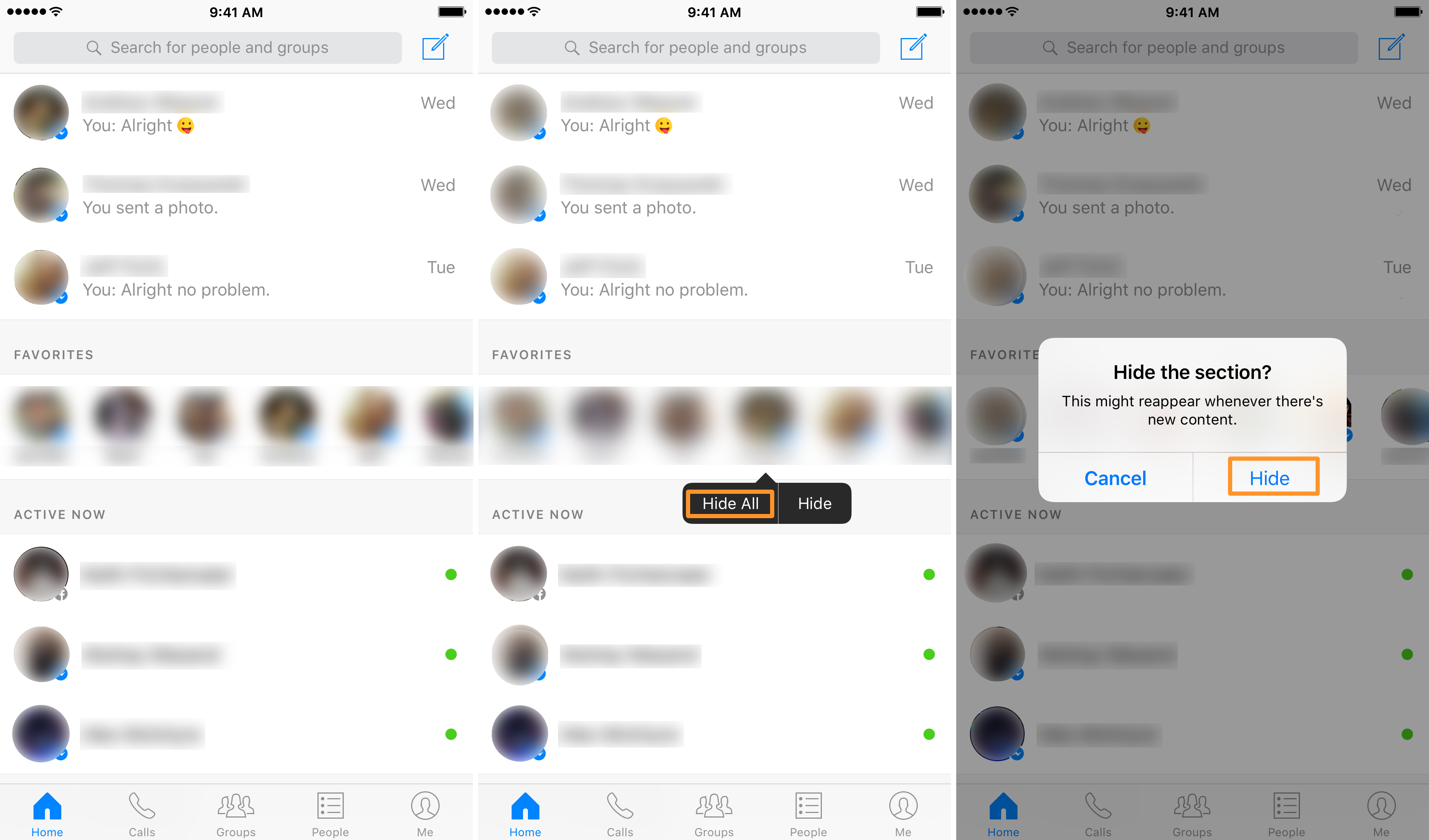 Hide All Favorites in Facebook Messenger
