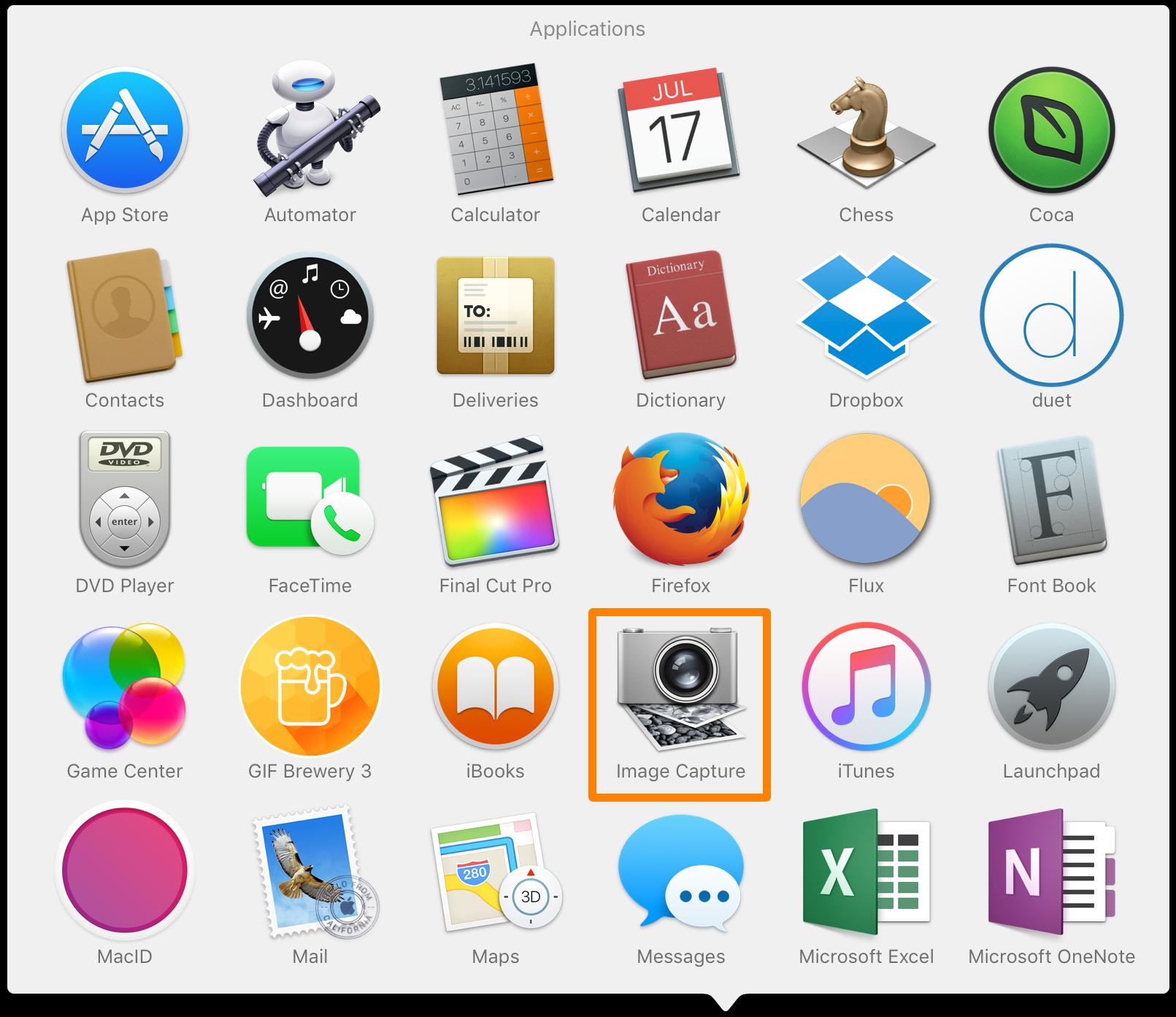 Captura de imagen en la carpeta de aplicaciones de Mac