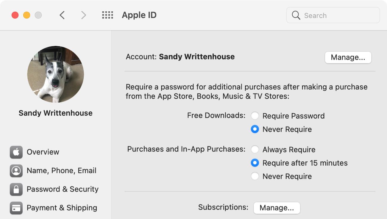 Mac App Store Require Password Settings